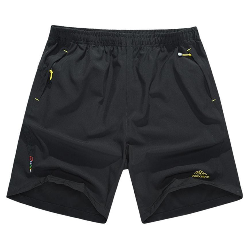 Guts Fishing Apparel - black hiking and fishing shorts with zip up front and back pockets.