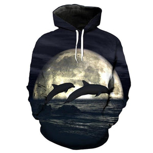 Dolphin Swimming in Moonlight Hoodie - Men's 3D Graphic Print Pullovers