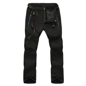 Black colour soft shell fleece fishing pants.