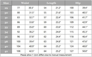 Batch 8 cargo shorts size chart.