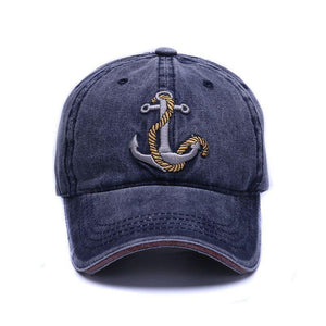 Guts Fishing Apparel showcasing the Hatlander anchor baseball cap in navy blue colour design.