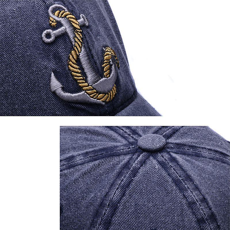 Navy blue men's baseball cap with anchor and rope embroidered design.