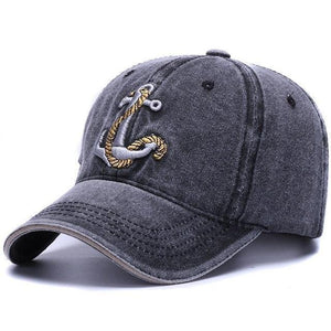 The black Washed Anchor fishing and boating cap now available at Guts Fishing Apparel.