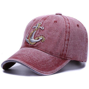 Bordeaux color baseball cap with embroidered anchor and rope design for sale at Guts Fishing Apparel.