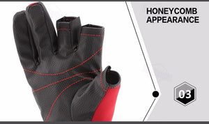 Half finger sport fishing gloves, colours red and black available.