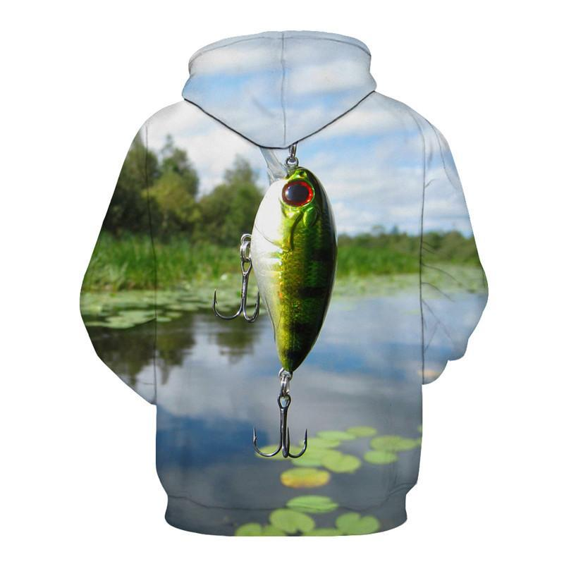 Green Crankbait Lure Fishing Shirt with Hood. The lure is dangling from the neck with a lotus leaf lake in the background.