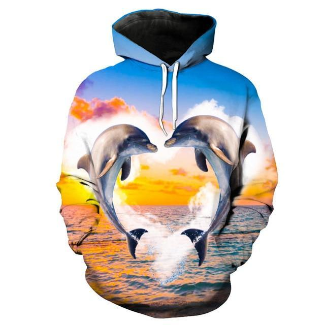 Two dolphins jumping out of the water on a men's long sleeve shirt that has a hood.