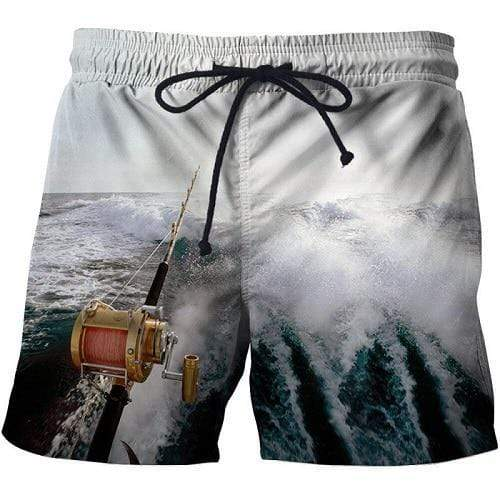 3D Fishing Shorts White Wash