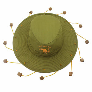 Australian Cork Tassel Hat in the colour green. Its an authentic Australian style hat for sale at guts Fishing Apparel.