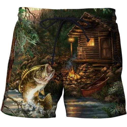 Fly fishing shorts with cool 3D print graphic designs.