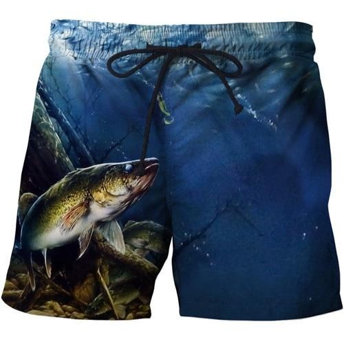 Lightweight and quick drying fishing shorts with cool fishing image print design.