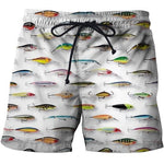 The 3D printed fishing shorts with a lure print.