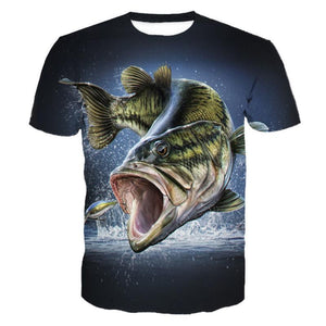 Quick drying fishing t-shirt with 3D print design of fish jumping out of water chasing lure.