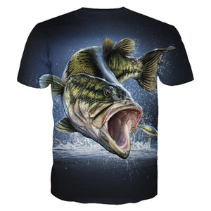3D fishing shirt in the colour black and green.
