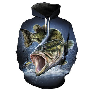 Hooded Fishing Shirts. Largemouth Bass fishing sweater with high impact 3D graphics.