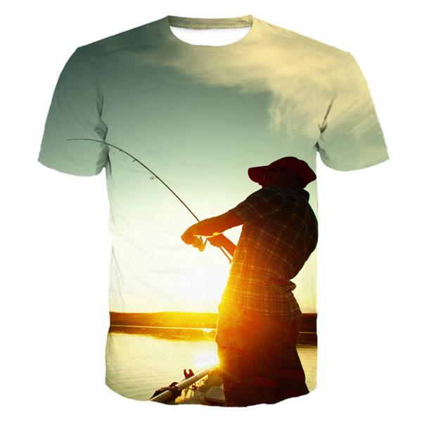 Sunset Lake 3D Print Design Fishing T-shirt