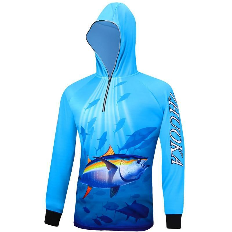 Zhuoka Yellowfin Fishing Shirt at Guts Fishing Apparel. Long sleeve fishing shirt with hood.