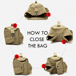 Illustrating how to close the hasp buckle on the canvas rucksack.