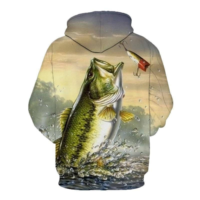 Green largemouth bass fish jumping for a lure shirt.