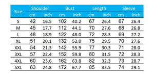 size chart for the no luck all skill fishing hoodie.