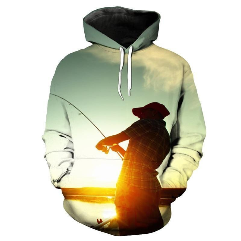 Sunset Lake Fishing Hoodie with high impact 3D Graphic design.