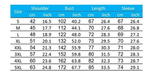 Size chart for the Sunset Lake Fishing Hoodie.