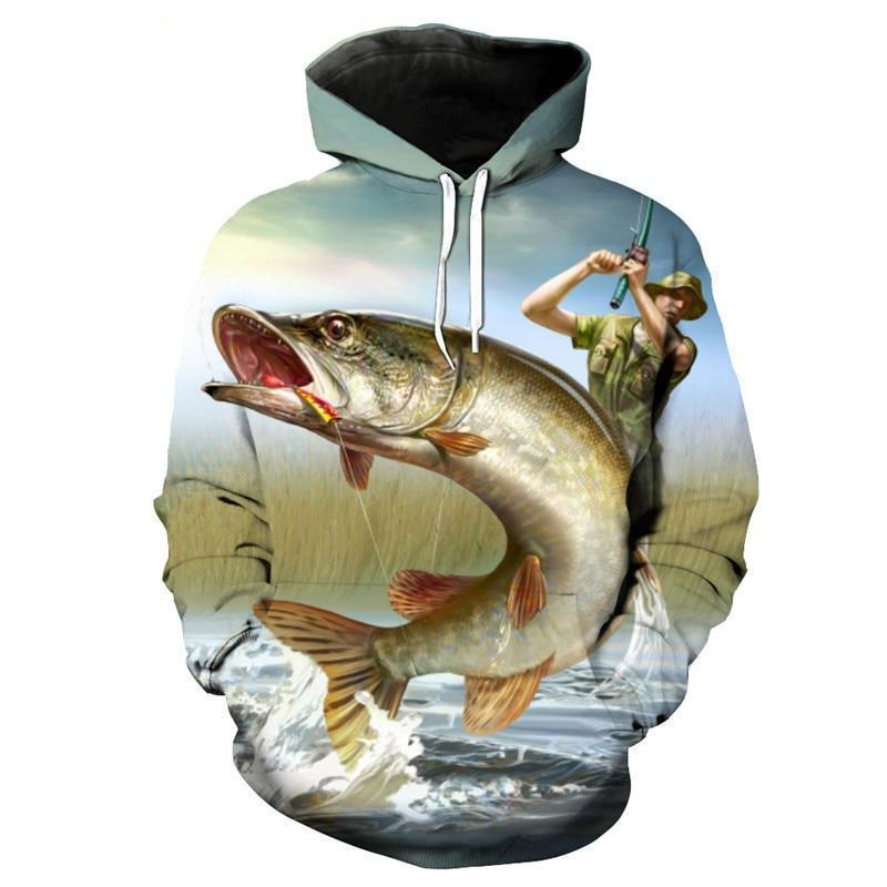 The Chomp 3D graphic fishing sweater by Guts Fishing Apparel.