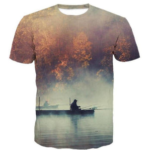 Maple Lake fishing shirt with a 3D Print Graphic design.