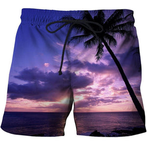Men's 3D Graphic Print Beach Shorts with a tropical sun set design.