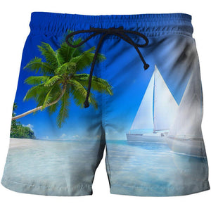 Sailboat beach shorts for men with a 3D Graphic design.
