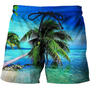 Men's Palm tree beach shorts with 3D Graphic Print design.