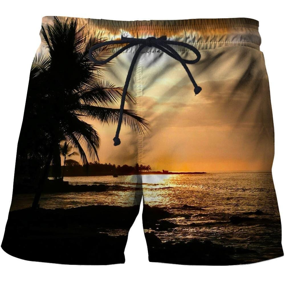 Men's 3D Graphic Print Beach Shorts with a Sun Setting design.
