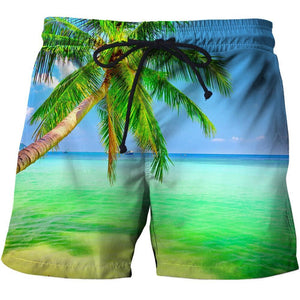 Men's holiday beach shorts with a 3D print design.
