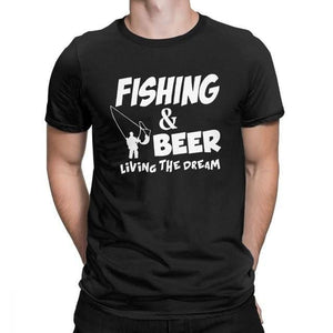 Men's Fishing & Beer Living The Dream T-shirt in the colour black.