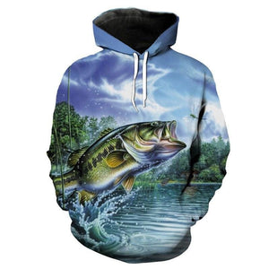 Guts Fishing Apparel - Large Mouth Bass Fish Eating a Dragon Fly - Men's Sweatshirt with Hood.
