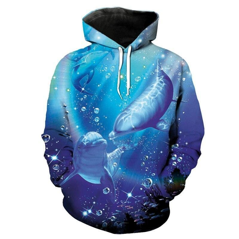 Dolphins Playing Printed On A Long Sleeve Shirt With Hood