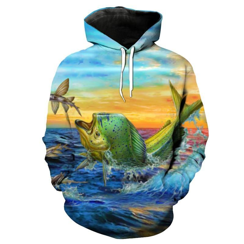 Mahi Mahi Dolphin Fish Fishing Shirt with Hood