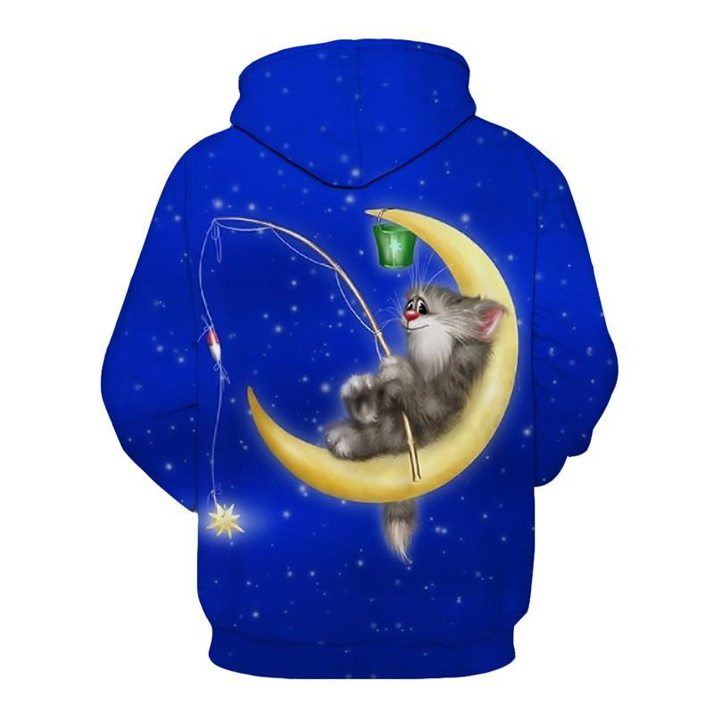 Cat on Moon Fishing Shirt