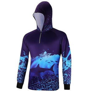 Blue long sleeve fishing shirt with zip up hood. Shark and deep blue ocean design by Znuoka.