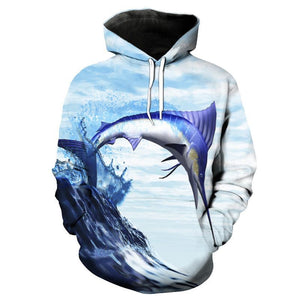 Sailfish printed on a sweatshirt with hood.