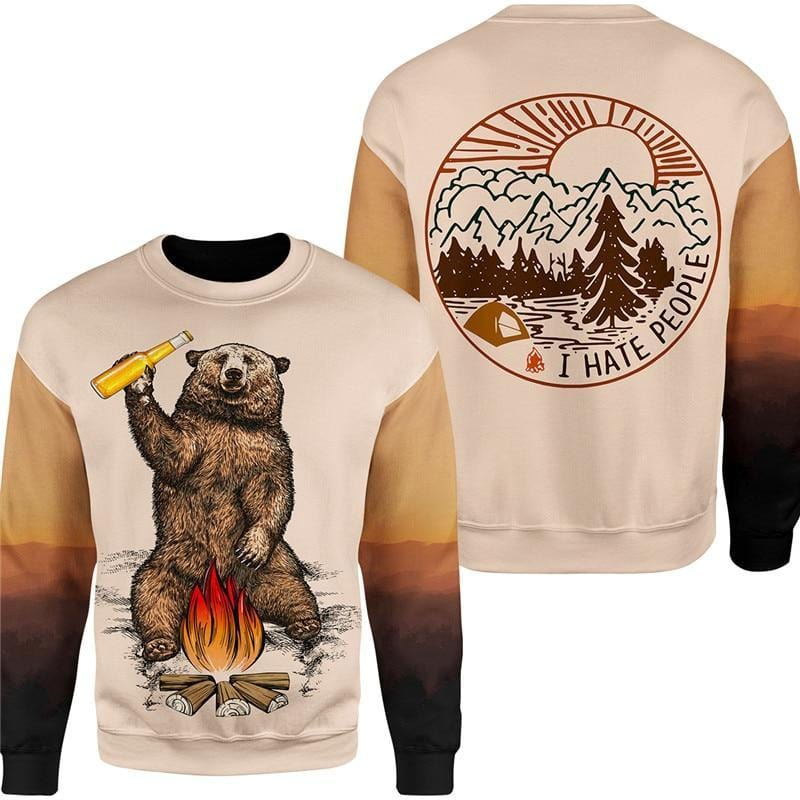 Brown jumper that says I hate people with bear drinking beer around fire.