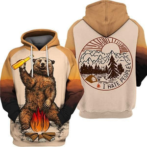 Brown hoodies that says I hate people with bear drinking beer around fire.