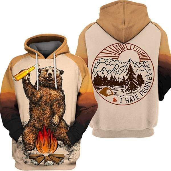 Camping Bear Hoodie S / Australia Guts Fishing Apparel