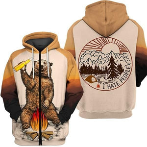 Brown zip up hoodie that says I hate people with bear drinking beer around fire.