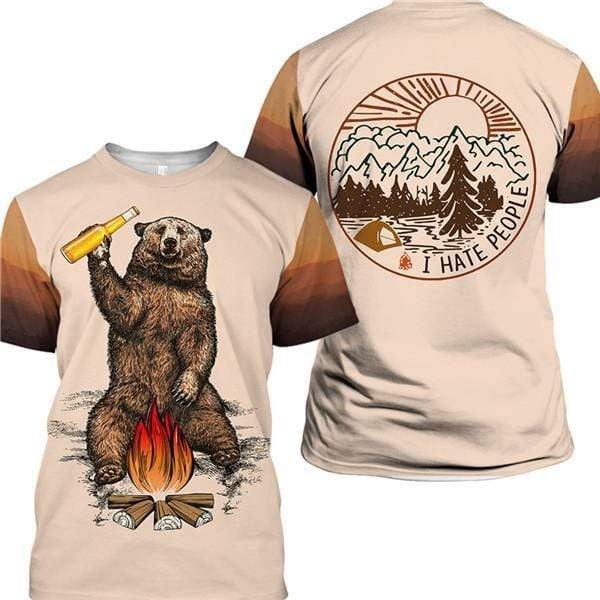 Brown t-shirt that says I hate people with bear drinking beer around fire.