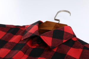 Red Flannelette Shirt on a coathanger.