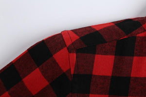 Men's red check flannel shirt.