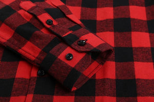 Red Flannelette Shirt with double button cuff.