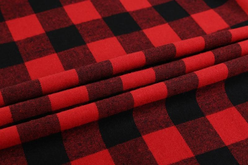Red and black checkered shirt fabric.