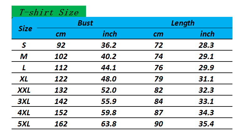 Size chart for camping t-shirt. Large US size.